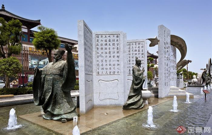 中式风格景观实景-文化雕塑喷泉水景文化墙人物雕塑