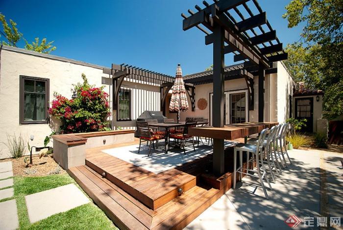 庭院,庭院景观,平台,花架,桌椅