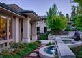 庭院,庭院景观,水池,水景,流水景观,汀步,树池