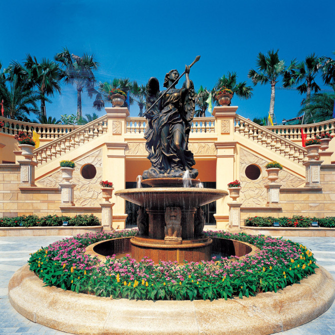 雕塑,雕塑水景,水钵台,花池,台阶,景墙