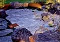 庭院景观,地面铺装,景石,桌椅,地灯,下水孔