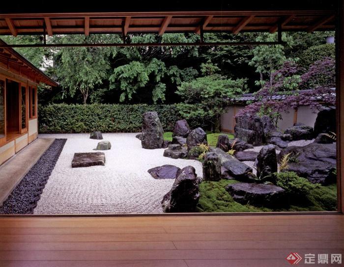 日本風格景觀實景圖-景石灌木墻圍墻庭院-設計師圖庫