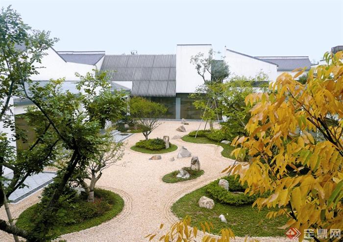 日式风格景观节点设计实景图-庭院庭院景观树池石子景