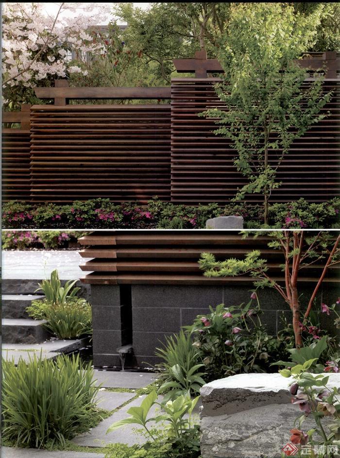 庭院景观,矮墙,观赏草,景石,台阶,地面铺装