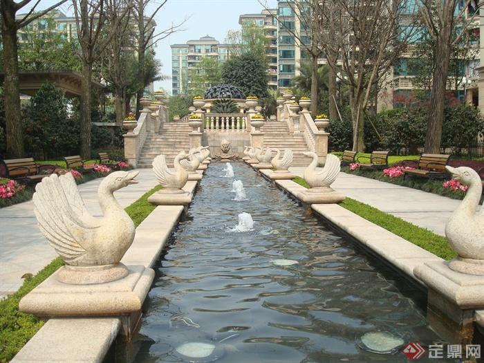 欧式别墅区景观设计图-喷泉水池景观雕塑小品-设计师