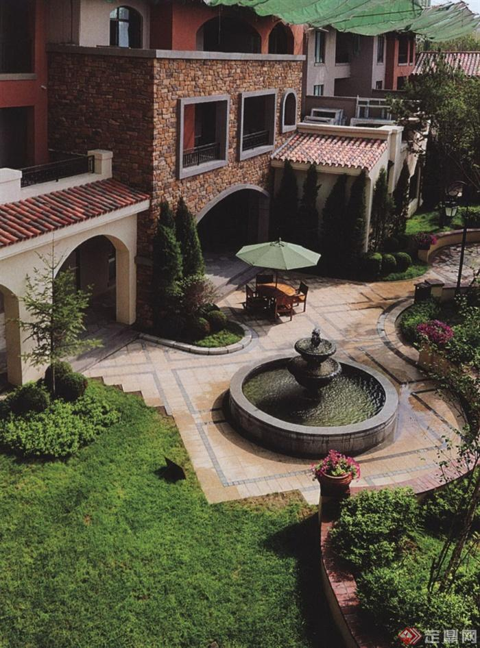 欧式别墅区景观设计图-庭院景观喷泉水池景观地面铺装