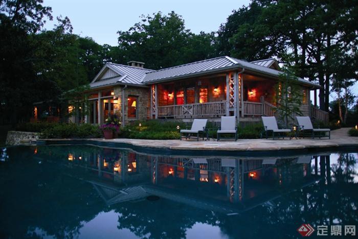 欧式风格景观实景图-滨水景观民居躺椅-设计师图库