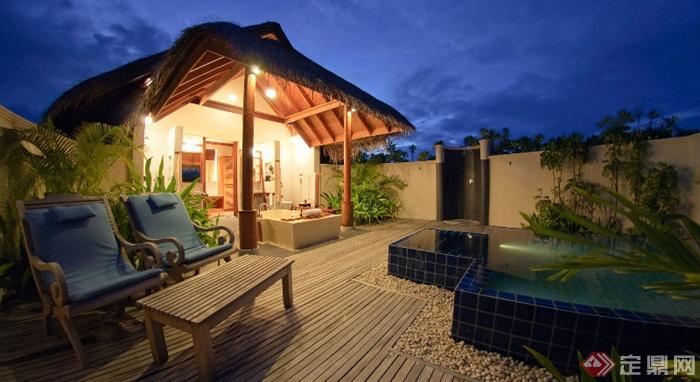 欧式景观设计实景图-庭院水池水景亭子凳子-设计师