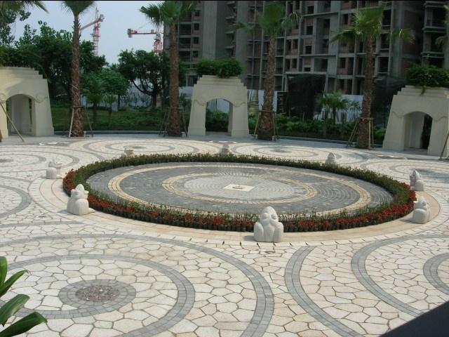 喷泉铺装广场_公园景观节点设计图小品地面铺装喷泉水池景