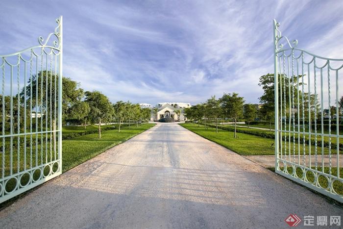 欧式风格景观节点设计图-园路铁艺大门草坪-设计师
