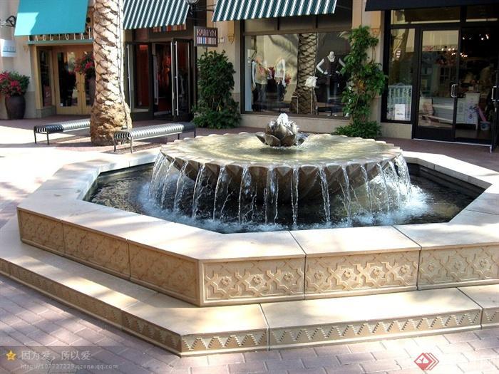 欧式景观节点实景-喷泉水景水钵-设计师图库