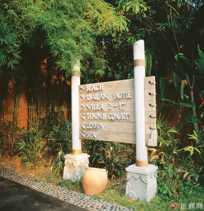 欧式景观节点实景-竹子标志牌花钵-设计师图库