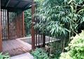 庭院景觀,木廊架,木地板,景觀水池,竹子