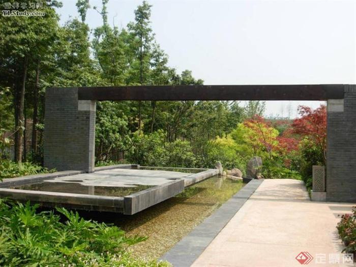 中式风格景观节点图片-景墙大门景观水池乔木-设计师图片