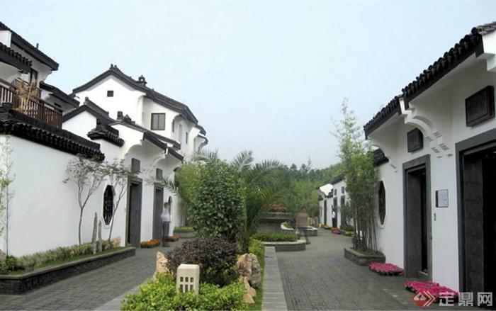 中式风格景观节点图片-住宅景观种植池地面铺装别墅