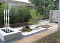 小品水景池,卵石铺装,景石,矮墙,住宅景观