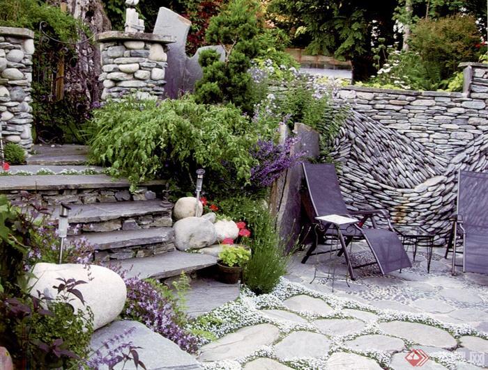 日式风格景观节点设计实景图-景石台阶庭院景观铺装