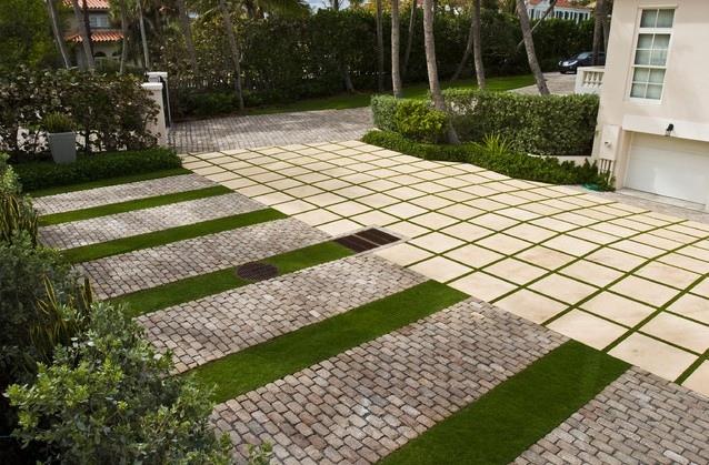 庭院,庭院景观,植草砖,地面铺装,花池,树池