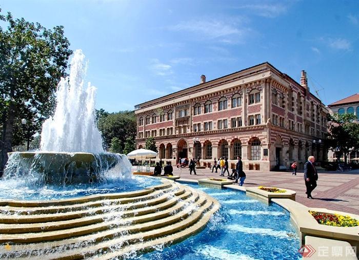 喷泉水景,花池,商业建筑