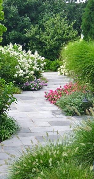 欧式风格庭院景观设计图-小径景观花卉植物观赏草地面