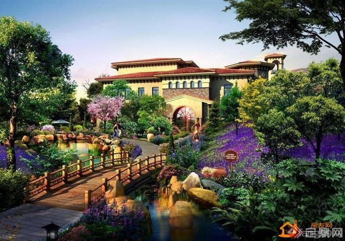 欧式风格庭院景观设计图-薰衣草别墅建筑园桥景石