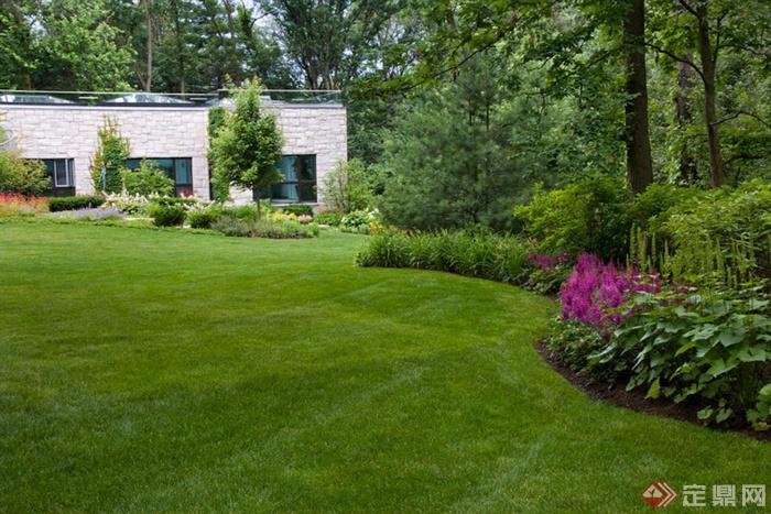 欧式风格庭院景观设计图-草坪花卉植物草本植物常绿