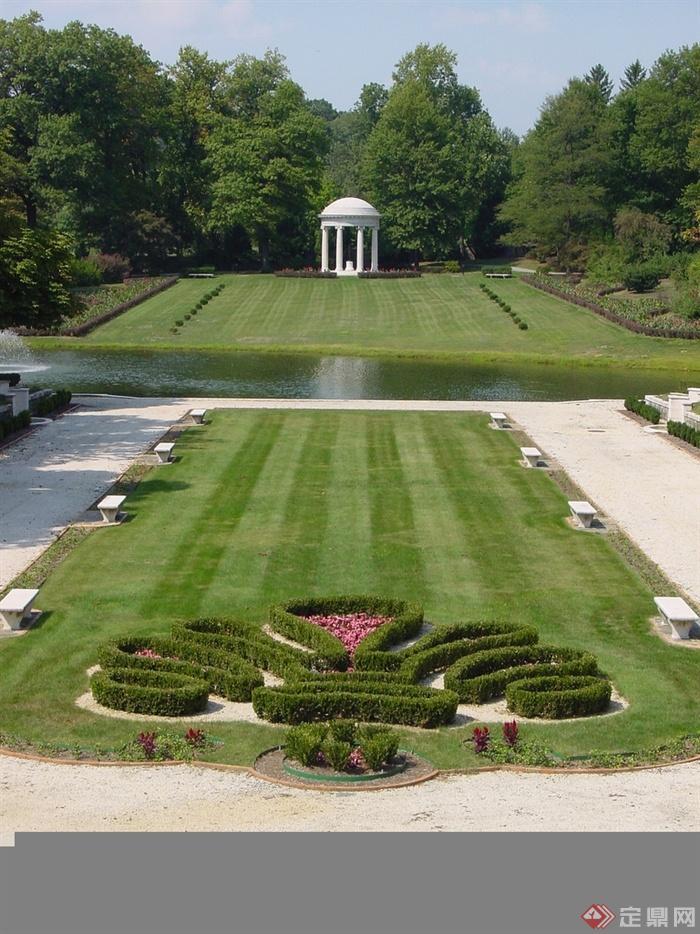某欧式公园景观规划设计-草坪景观灌木带草坪水景园亭