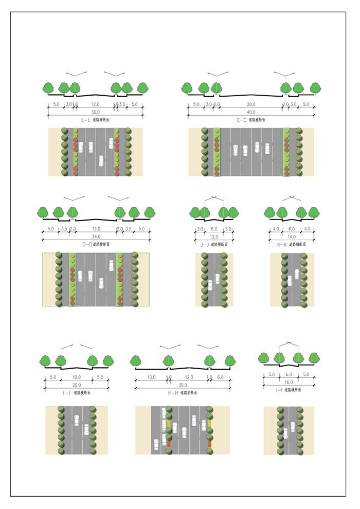 道路景观设计psd和jpg平断面图[原创]