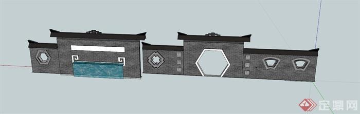现代中式拱门景墙设计su模型(1)