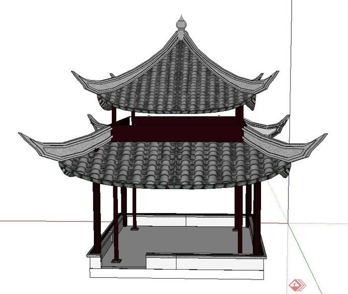 古典中式四角重檐亭设计su模型