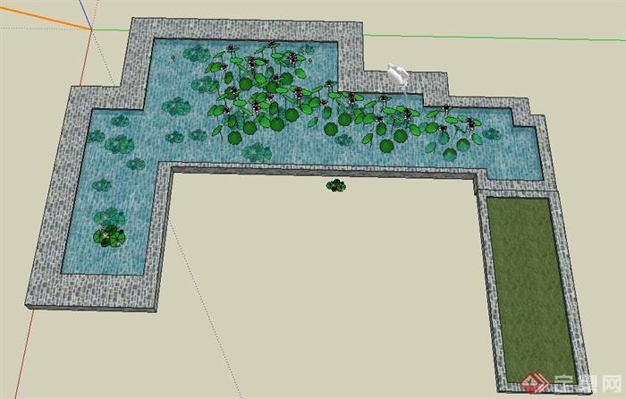 园林景观节点水池景观设计su模型