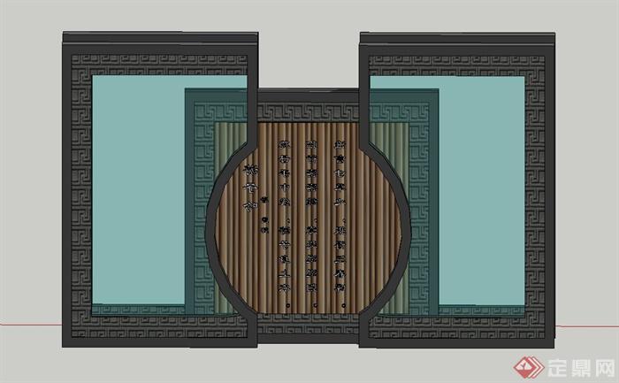 园林景观节点玻璃景墙设计su模型