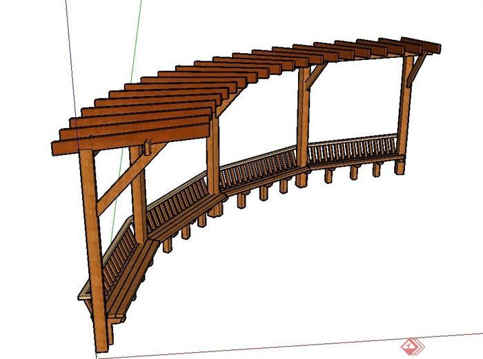 园林景观木质弧形单边廊架设计su模型