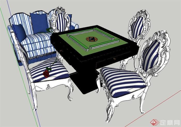 欧式风格麻将桌椅及沙发su模型