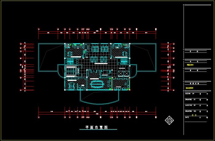 某办公空间室内设计CAD施工图 550平 36张CAD图