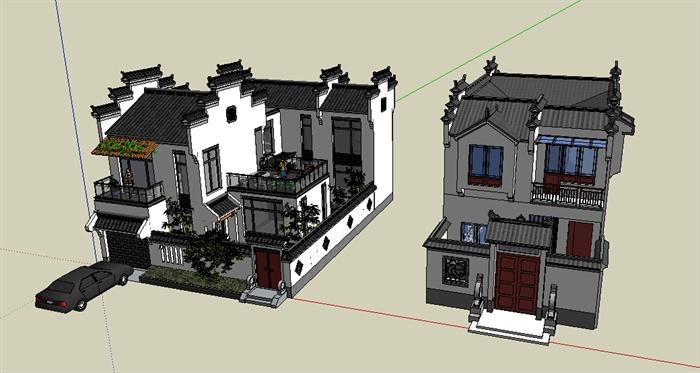 两栋徽派新中式别墅建筑设计su模型[原创]