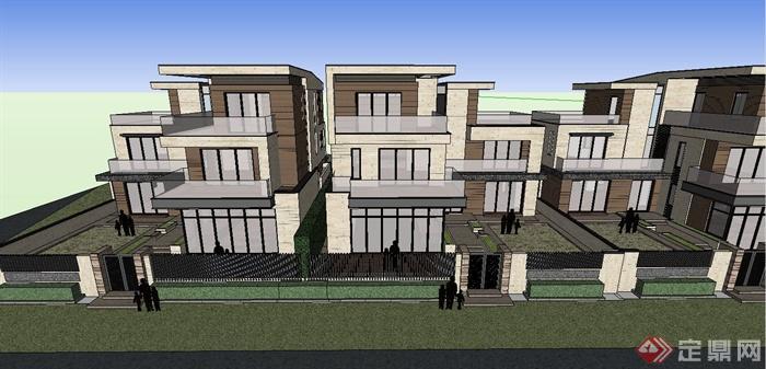 三层双拼别墅设计图-现代某双拼三层别墅小区建筑设计SU模型