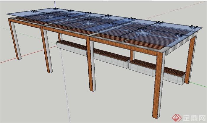 现代风格玻璃顶木廊架su模型(1)