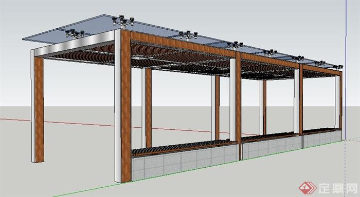 现代风格玻璃顶木廊架su模型(2)