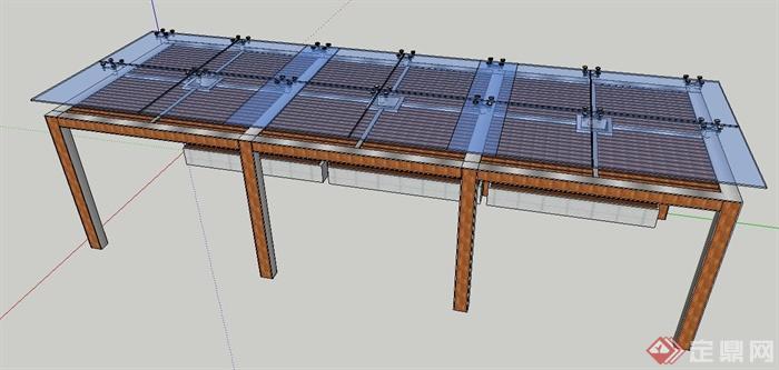 现代风格玻璃顶木廊架su模型(3)