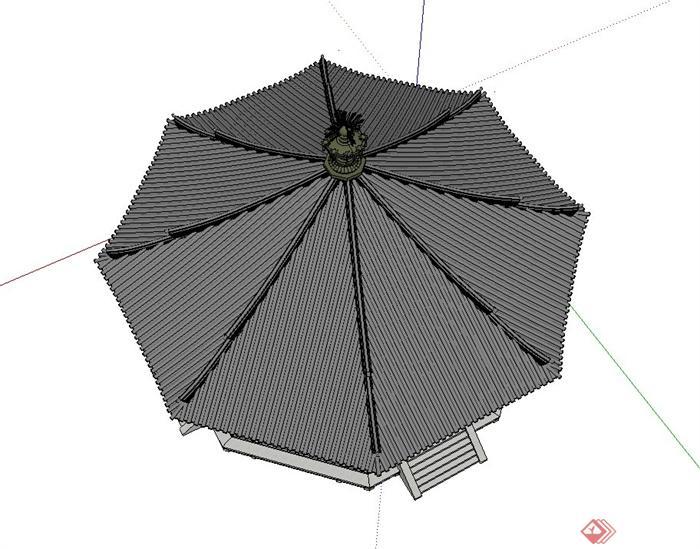 古典中式八角宝塔建筑设计su模型(3)