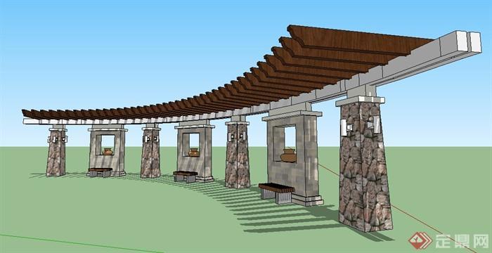 园林景观现代弧形长廊架su模型