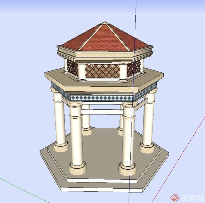 某欧式两层六角亭设计su模型