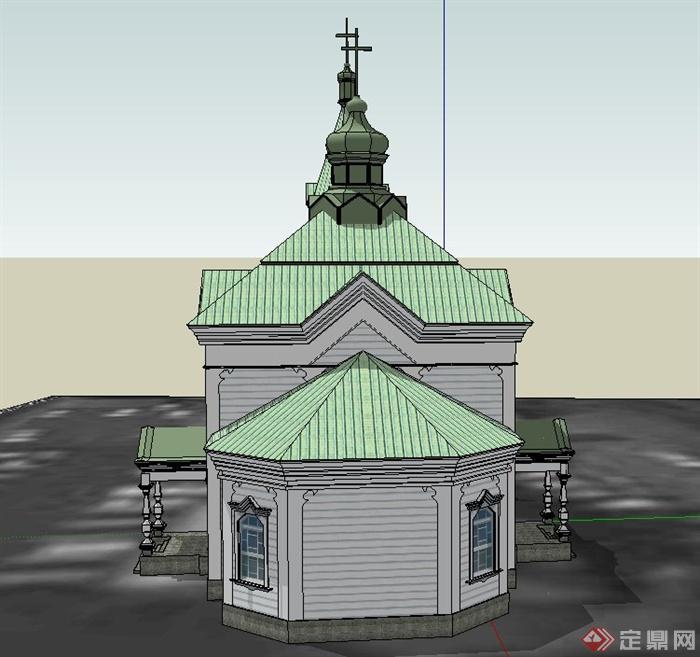 某单层欧式风格青色教堂建筑设计su模型