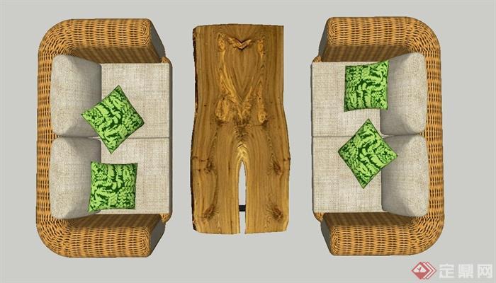 室内桌子沙发与木藤编v桌子SU教学[Indoorratta天津模型真题能力初中图片