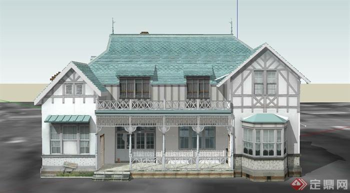 某两层欧式阁楼式青色住宅建筑设计su模型