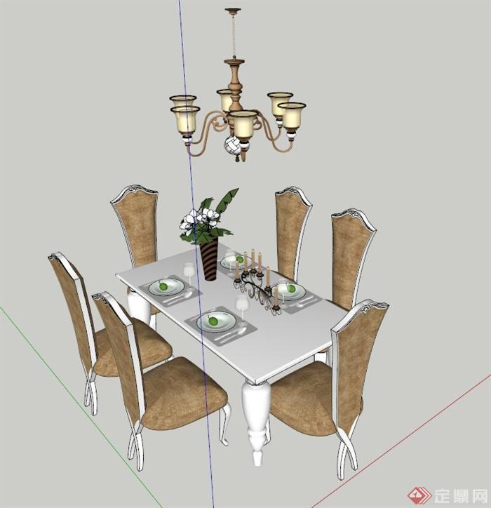 欧式餐桌椅吊灯设计su模型(1)