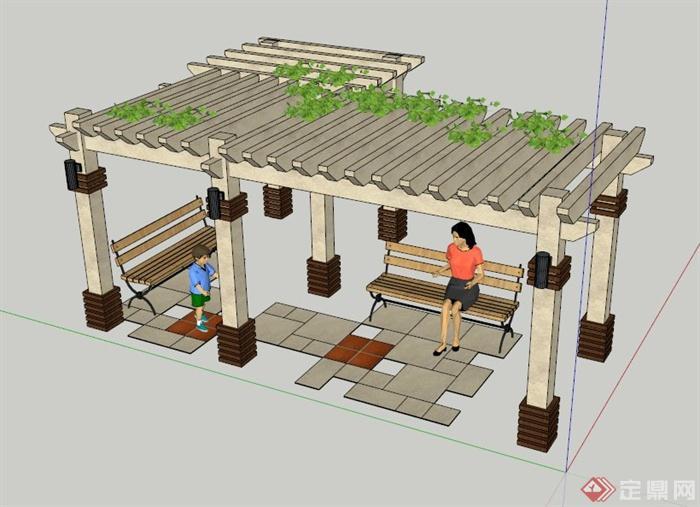 欧式花架廊架设计su模型