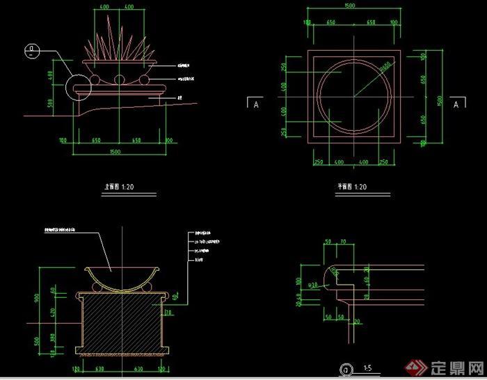 圆形浴缸立面cad_某现代园林工程中圆形花钵设计施工图CAD格式