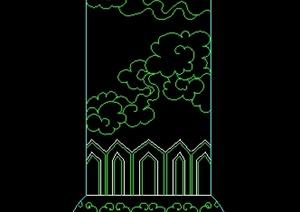 某祥云图案景观柱部分立面设计图